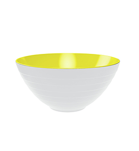wave 2-tone bowl and salad servers, 2-pc set Ø 28 cm white/yellow