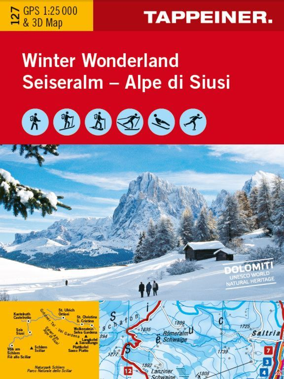 Winter Wonderland Seiseralm - Alpe di Siusi. GPS 1:25 000 & 3D Map.
