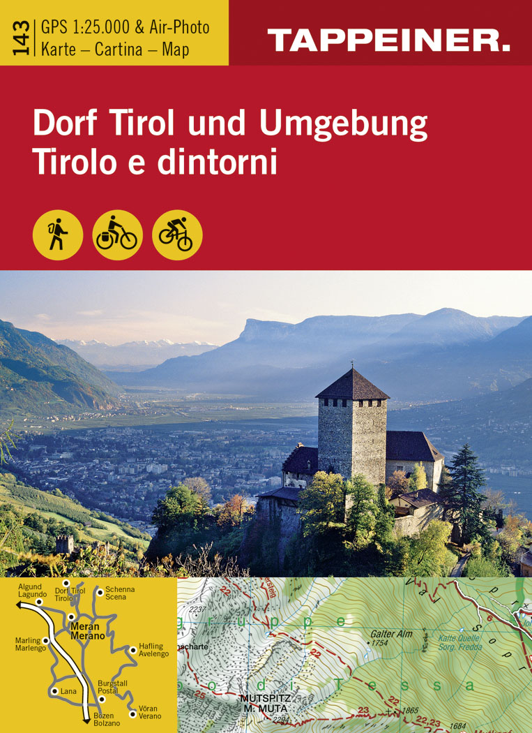 Dorf Tirol und Umgebung. 1:25.000 GPS & Air-Photo. Karte. Cartina. Map N. 143