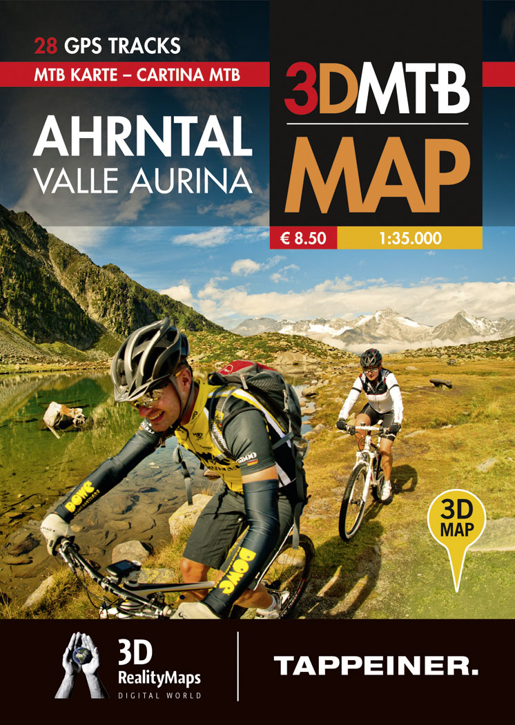 3DMTB Map Ahrntal Valle Aurina 1:35.000. 28 GPS Tracks.